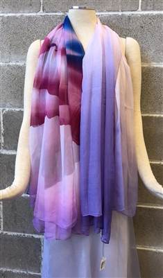 Purple Multi Dream Time Silk Scarf