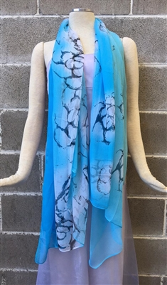 Blue Fancy Pattern Silk Scarf