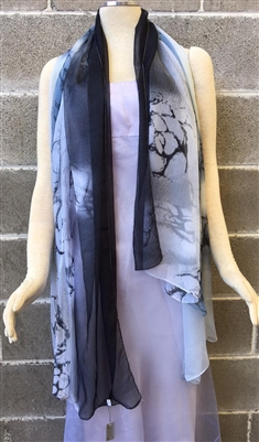 Grey Fancy Pattern Silk Scarf