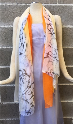 Orange Fancy Pattern Silk Scarf