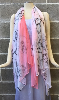 Pink Fancy Pattern Silk Scarf