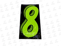 "7.5"" Number Stickers Green/Black -8 Dozen Pack"