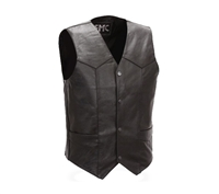 First Manufacturing Four Snap Leather Vest - FMM601BM