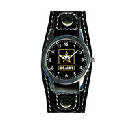 Frontier Army Leather Strap Watch - 21B