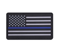 Rothco PVC Thin Blue Line Flag Patch - 27789