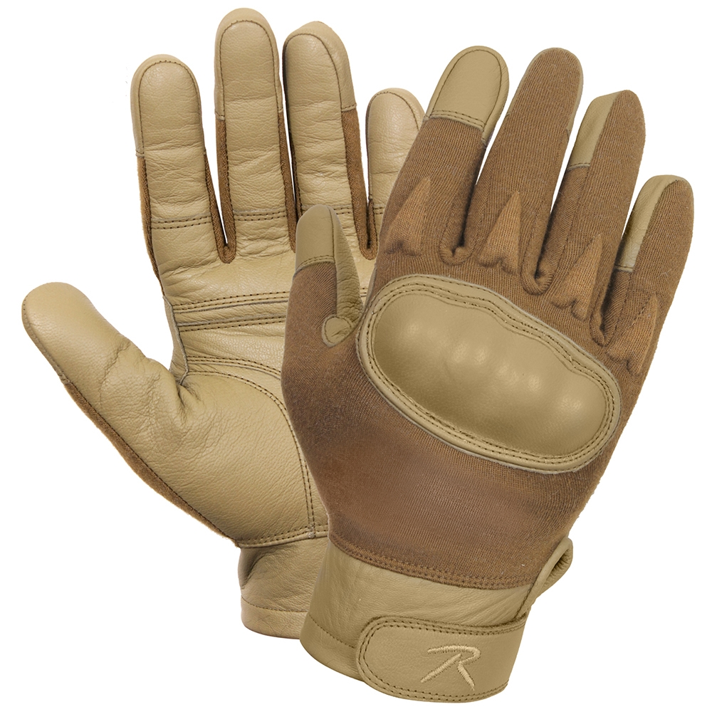 Rothco 3483 Black Leather Knuckle Military Cut Resistant Tactical Gloves