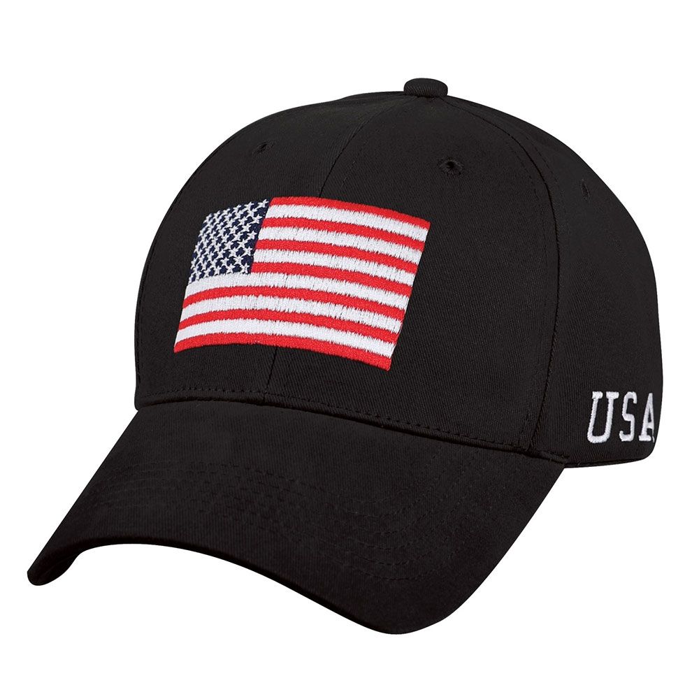 Rothco Black USA Flag Low Profile Cap 4619