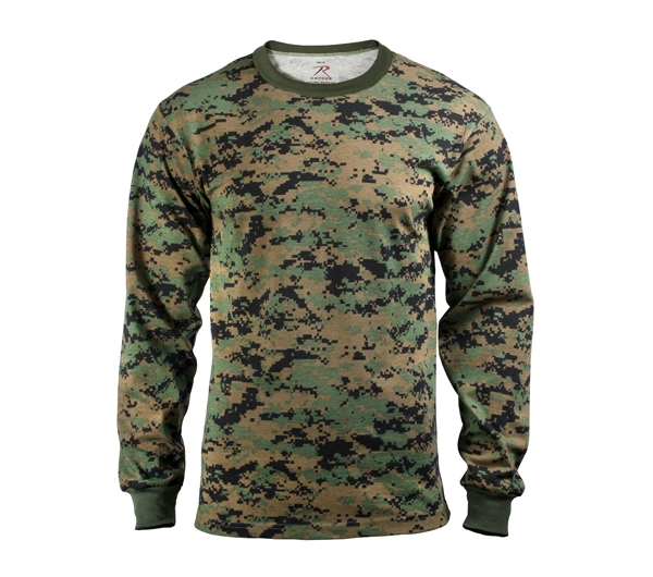 be603ac32 Rothco Digital Woodland Camo Long Sleeve T-Shirt - 5494