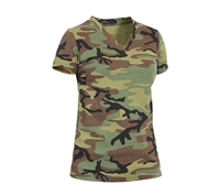 Rothco Womens Woodland Camo V-Neck T-Shirt - 5653