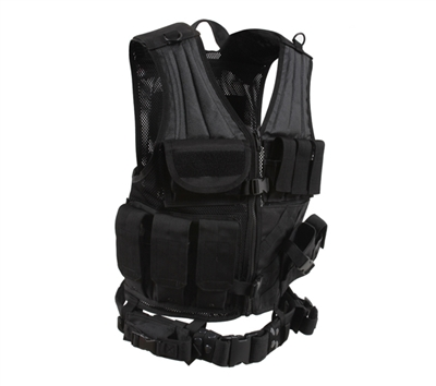 Rothco Black Cross Draw Tactical Vest - 6491