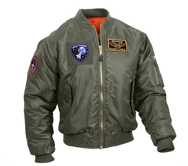 Rothco Sage Green MA-1 Flight Jacket with Patches 7240 1b26cfe7e3e