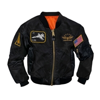 Rothco Kids Black Flight Jacket With Patches - 7341