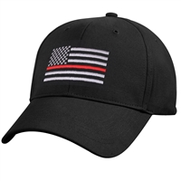 Rothco Black Thin Red Line Low Profile Cap 9896