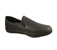Zig-Zag Black Leather Slip On Shoes - 7224