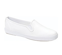 Zig-Zag White Leather Slip On Shoes - 7224