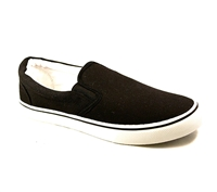 Zig-Zag Black Canvas Slip On - 7234