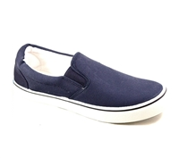 Zig-Zag Navy Canvas Slip On - 7234