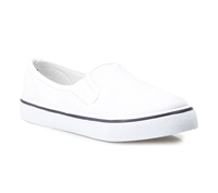 Zig-Zag White Canvas Slip On - 7234