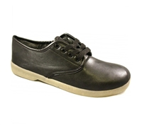 Zig-Zag Black Leather Oxford Shoes - 7265