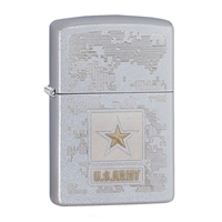 Zippo US Army Satin Chrome Finish Lighter - 29388