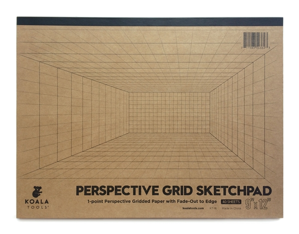 "1-point Perspective ROOM GRID Sketch Pad (9"" x 12"")"