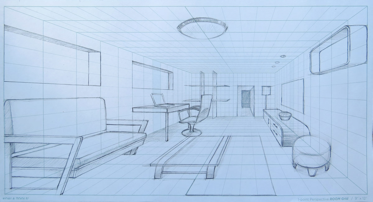1 Point Perspective Room Grid Sketch Pad