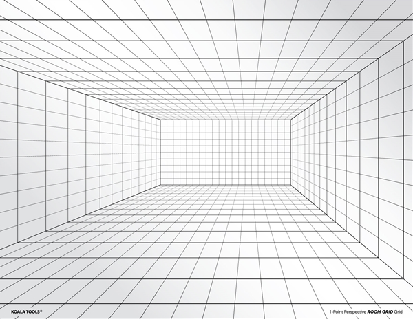 1-point Perspective ROOM GRID Transparency Sheet