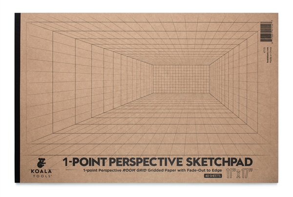 "1-point Perspective ROOM GRID Sketchpad (11"" x 17"")"