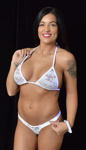 B302WT - Sparkle Lace Thong & Bra with Rhinestones (White)