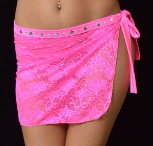 B303HP - Sparkle Lace Short Wrap with Rhinestones (Hot Pink)