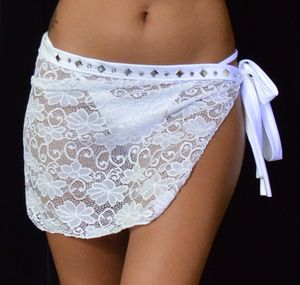 B303WT - Sparkle Lace Short Wrap with Rhinestones (White)