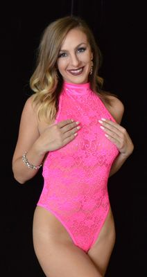 B304HP - Sparkle Lace Choker Romper with Rhinestones (Hot Pink)