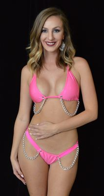 B309HP - Halo & Chain Bling Thong & Bra (Hot Pink)