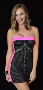 B312BK - Flashy Peep Mesh Tube Dress with Jewels & Thong (Black)