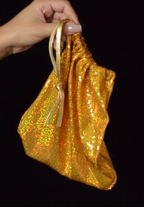 B315B-GD - Sequin Money Bag (Gold)