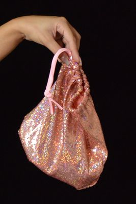 B315B-PK - Sequin Money Bag (Pink)