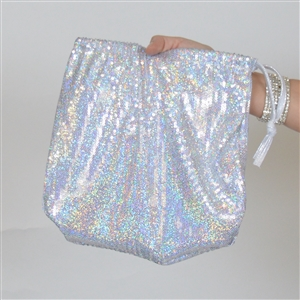 B315B-SL - Sequin Money Bag (Silver)