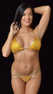 B315GD - Sequin Edged Thong & Bra Set (Gold)