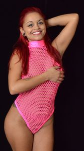 B318HP - Glamour Diamond Mesh Romper with Rhinestones (Hot Pink)