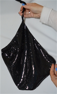 B330BK - Extra Large Sequin Money Bag (Black)