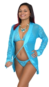 B377TQ - Sensuous Lace Thong & Bra Set with Rhinestones (Turquoise)