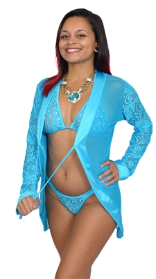 ** NEW ** B377TQ - Sensuous Lace Thong & Bra Set with Rhinestones (Turquoise)