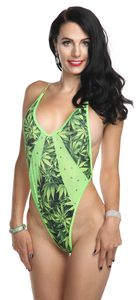 ** NEW ** B387 - Weed Strappy Romper with Rhinestones