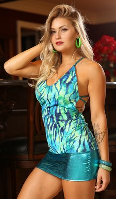 D386TQ - Trippin' Zebra Dress with Thong (Turquoise)