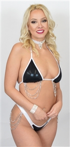 D645BK - Hologram Sequin Showgirl Thong & Bra Set (Black)