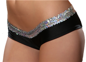 G123S - Sequin Trimmed Regular Bootie Shorts