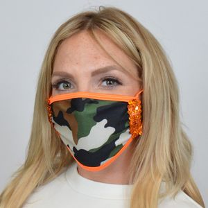M222 - Camo w/Sequin Trim Mask