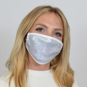 M234 - Silver Sequin Mask