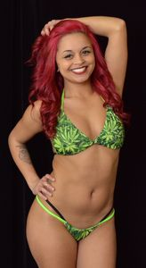 MJ110 - Weed Double String Thong & Bra Set