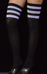 Z921BK/WT - Black Socks w/White Stripes